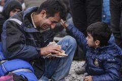 GjorgjiLichovski--Un bambino accarezza suo padre disperato durante una protesta dei migranti dal Pakistan e Marocco dovuta alla chiusura del confine fra Grecia e Macedonia-concesso solo ai rifugiati dalla Siria Iraq e Afghanistan